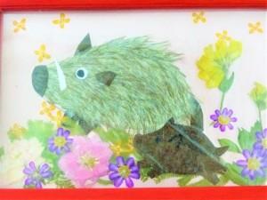 プレゼントは、ボランティアさんの手作りの押し花カード